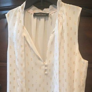 New Ivanka Trump White &Gold Sleeveless Top Sz M
